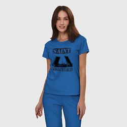 Пижама хлопковая женская Санкт-Петербург цвета синий — фото 2