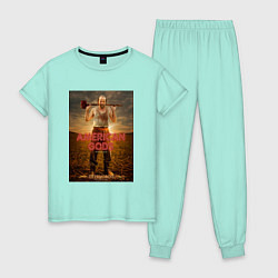 Пижама хлопковая женская American Gods: Czernobog цвета мятный — фото 1