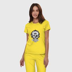 Пижама хлопковая женская Skate or die цвета желтый — фото 2