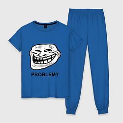 Пижама хлопковая женская Trollface. Problem? Проблемы? цвета синий — фото 1