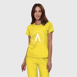 Пижама хлопковая женская Archive цвета желтый — фото 2