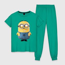 Пижама хлопковая женская Хитрый Миньон цвета зеленый — фото 1