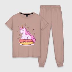 Пижама хлопковая женская Единорог на пончике цвета пыльно-розовый — фото 1