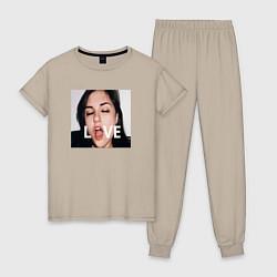Пижама хлопковая женская Sasha Grey LOVE цвета миндальный — фото 1