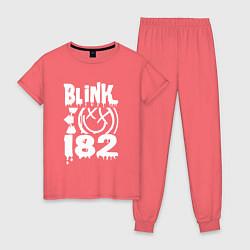 Пижама хлопковая женская Blink-182 цвета коралловый — фото 1