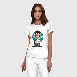 Пижама хлопковая женская Arctic Monkeys: EN colombia цвета белый — фото 2