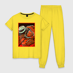 Пижама хлопковая женская Гагарин в иллюминаторе цвета желтый — фото 1