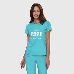 Пижама хлопковая женская Limited Edition 1971 цвета бирюзовый — фото 2
