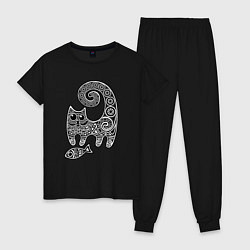 Пижама хлопковая женская Кот3 цвета черный — фото 1