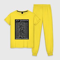 Пижама хлопковая женская Joy Division: Unknown Pleasures цвета желтый — фото 1