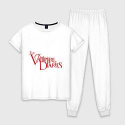 Пижама хлопковая женская The Vampire Diaries цвета белый — фото 1