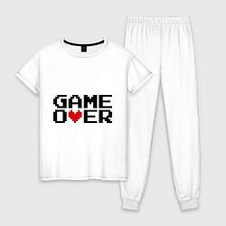 Пижама хлопковая женская Game over 8 bit цвета белый — фото 1
