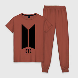 Пижама хлопковая женская BTS Army цвета кирпичный — фото 1