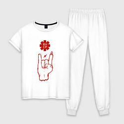 Пижама хлопковая женская RHCP Rock цвета белый — фото 1