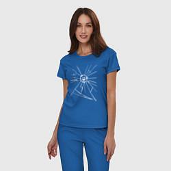 Пижама хлопковая женская Mirror Smile цвета синий — фото 2