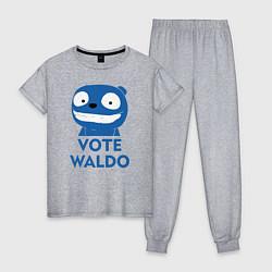 Пижама хлопковая женская Vote Waldo цвета меланж — фото 1