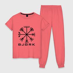 Пижама хлопковая женская Bjork Rune цвета коралловый — фото 1