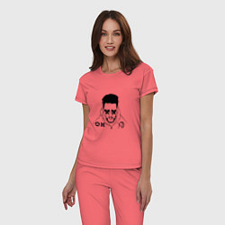 Пижама хлопковая женская The Weeknd цвета коралловый — фото 2