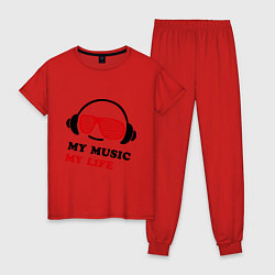 Пижама хлопковая женская My music my life цвета красный — фото 1