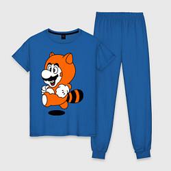 Пижама хлопковая женская Mario In Tanooki Suit цвета синий — фото 1