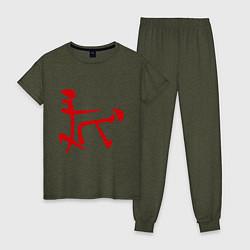 Пижама хлопковая женская Иероглиф: любовь цвета меланж-хаки — фото 1
