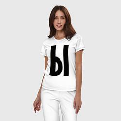 Пижама хлопковая женская Мы (Ы) цвета белый — фото 2