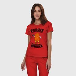 Пижама хлопковая женская Большая шишка цвета красный — фото 2