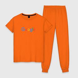 Пижама хлопковая женская Google цвета оранжевый — фото 1