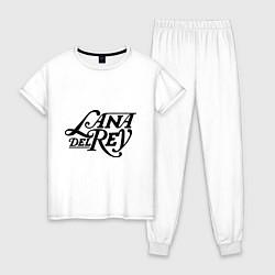 Пижама хлопковая женская Lana Del Rey цвета белый — фото 1