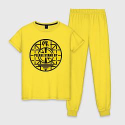 Пижама хлопковая женская Fallout: Please stand by цвета желтый — фото 1