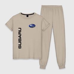 Пижама хлопковая женская Subaru Style цвета миндальный — фото 1