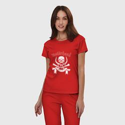 Пижама хлопковая женская Motrhead цвета красный — фото 2