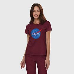 Пижама хлопковая женская Elon NASA цвета меланж-бордовый — фото 2