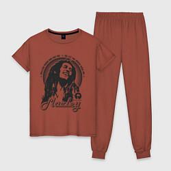 Пижама хлопковая женская Bob Marley: Island цвета кирпичный — фото 1