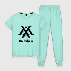 Пижама хлопковая женская Monsta X цвета мятный — фото 1
