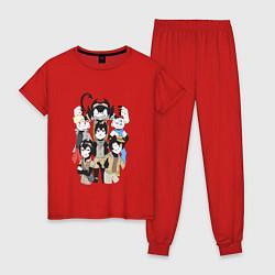 Пижама хлопковая женская Bendy Heroes цвета красный — фото 1