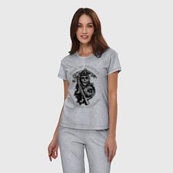 Пижама хлопковая женская Sons of Anarchy: Redwood Original цвета меланж — фото 2