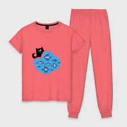 Пижама хлопковая женская Кот программиста цвета коралловый — фото 1