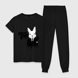 Пижама хлопковая женская Misfits Rabbit цвета черный — фото 1