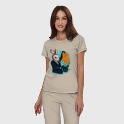 Пижама хлопковая женская Rabbit magician цвета миндальный — фото 2