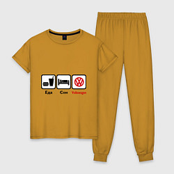 Пижама хлопковая женская Еда, сон и Volkswagen цвета горчичный — фото 1