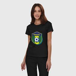 Пижама хлопковая женская Brazil Football цвета черный — фото 2