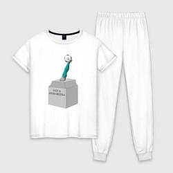 Пижама хлопковая женская Нога Акинфеева цвета белый — фото 1