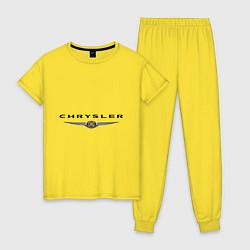 Пижама хлопковая женская Chrysler logo цвета желтый — фото 1