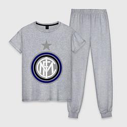 Пижама хлопковая женская Inter FC цвета меланж — фото 1