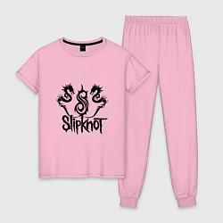 Пижама хлопковая женская Slipknot Dragons цвета светло-розовый — фото 1