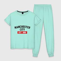 Пижама хлопковая женская FC Manchester City Est. 1880 цвета мятный — фото 1