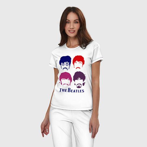 Женская пижама The Beatles faces / Белый – фото 3