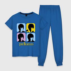 Пижама хлопковая женская The Beatles: pop-art цвета синий — фото 1