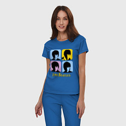 Пижама хлопковая женская The Beatles: pop-art цвета синий — фото 2